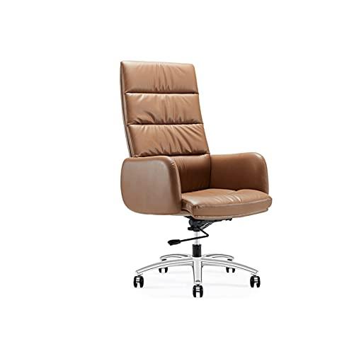 XYJHQEYJ Sedie da Ufficio Sedie ergonomiche della scrivania, Sedia da Gioco del Computer Sedia del Boss reclinabile, Sedia in Pelle Alta Schiena (Color : Brown)