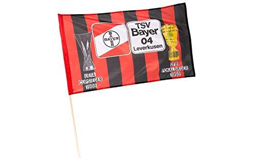 Bayer 04 Leverkusen Pokale Fahne 150x90cm mit Stock (one Size, Multi)