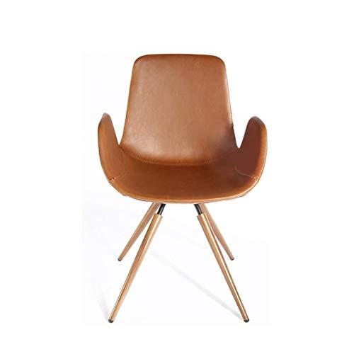JJZXD Modern Chaise Style de Vie Chaise Chambre avec Dos, Salon Siège Apparence en Cuir Chaise, Maison Cuisine Chair avec Pieds en métal