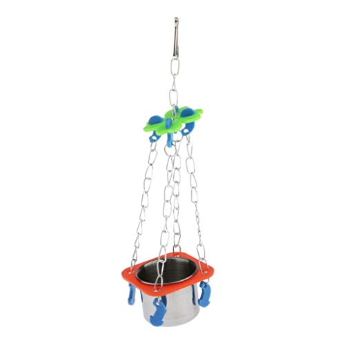 homozy New Pet Bird Stainless Steel Water Food Seed Feeder for Small Birds Parrot