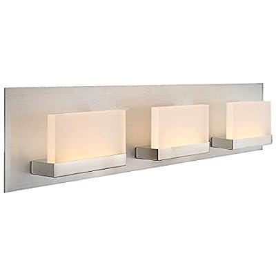 "Kira Home Everett 24"" Modern 3-Light 19W Integrated LED (180W eq.) Bathroom/Vanity Light, Rectangular Acrylic Lenses, Energy Efficient, Eco-Friendly, 3000k Warm White Light, Brushed Nickel Finish"