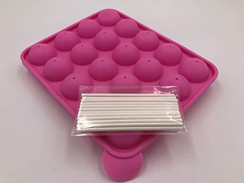 20 cavità in silicone Lollipop Mold con bastoncini 20 cavities with sticks - Dimensioni 22,5 * 18 * 3 cm diametro del cerchio 4 cm, resistente al calore da -40 ° C a 230 ° C (rosa)