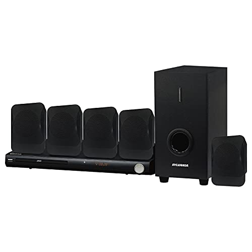 SYLVANIA SDVD5089 5.1-Channel 450-Watt DVD Home Theater System with 5 Satellite Surround Sound Speakers, Subwoofer, and DVD Player