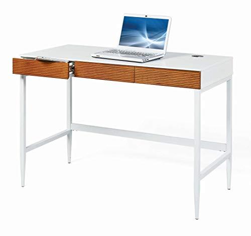 Interlink Schreibtisch SCANDICI Bürotisch 3 Schubladen Weiß Eiche massiv