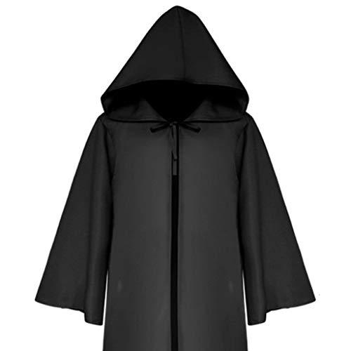 GOKOMO Männer und Frauen mittelalterlichen Ritter gotischen Retro einfarbig Ärmel Mantel Mantel Erwachsenen schwarz XL