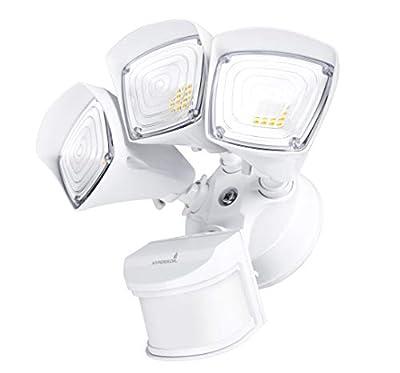 Hyperikon Outdoor Security Light, 37.5W LED Flood Light Fixture with Wide Range Motion Sensor, Photocell, 5000K, 3600 lumens, IP65 Waterproof, 3-Head White