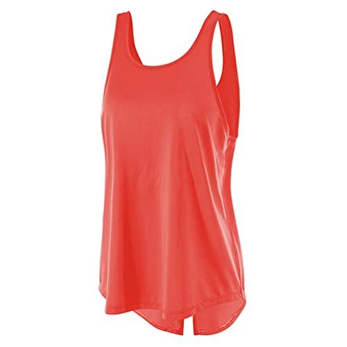 QitunC Camiseta Tirantes sin Mangas de Deporte para Mujer Sueltas y Ocio Tank Top Clásico Chaleco de Fitness Deportiva de Tirantes (Red, M)