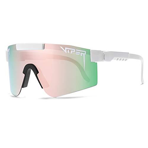 HUALUWANG Gafas Deportivas a Prueba de Viento para Exteriores Pit Viper UV400 polarizadas Gafas de Sol para Hombre y Mujer (Color : C)