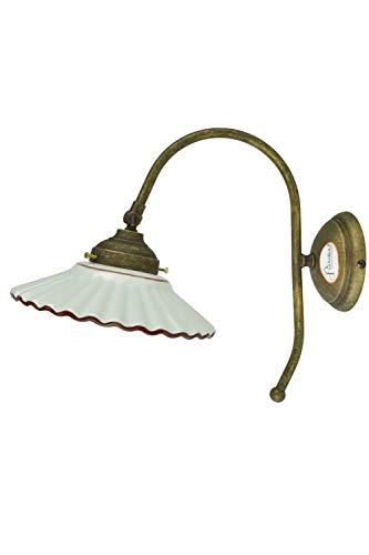 fd-bolletta arredamento e illuminazione applique da parete interni,applique vintage con paralume,ricambio vetro a28 Misure: sporgenza 24cm,Ø paralume 19cm,Ø base 10cm