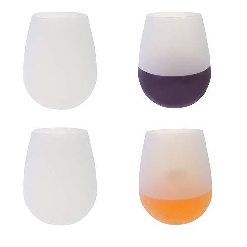 NBSXR 4 Pack transparante siliconen wijnglazen, veilige plastic beker alternatief, 100% vaatwasserbestendig, voor reizen, buiten, picknick, zwembad, boot, camping