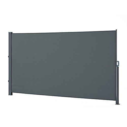 Oskar ALU Seitenmarkise Sichtschutz Sonnenschutz Seitenrollo Markise 280g/m² (180x350 cm, Anthrazit)