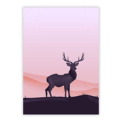 yaoxingfu Sin Marco Impermeable Hotel Kid Sala ma Ana Noche Elk Deer Paisaje Cartel Impresiones Decoratoin Wall Art Lienzo Pintura Unframed 40x60cm