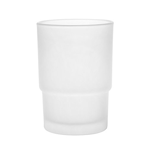 2x Milchglas/transparentes Glas Zahnputzbecher Universal Ersatzteil für Badezimmer Zubehör frosted