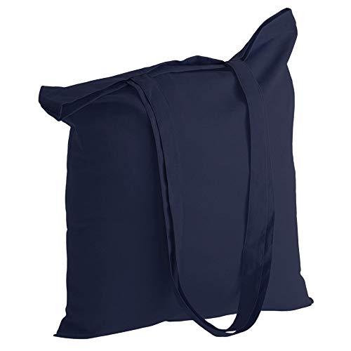 POLHIM® - Bolsa de tela de algodón reutilizable – Bolsa de tela de algodón lavable – Ropa de gimnasia, compras, playa, verduras – 38 x 42 cm, con asas 70 cm (azul oscuro, 10 unidades)