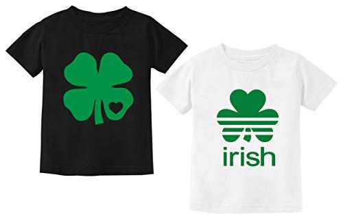 Camisa trevo de coração trevo trevo trevo irlandês Dia de São Patrício roupa infantil bonito conjunto com 2, St Patricks Shirts, 2T