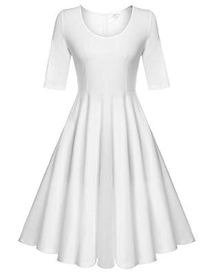 ELESOL Vintage Women Long Sleeves Party Tea Dress Plus Size,White/XXL