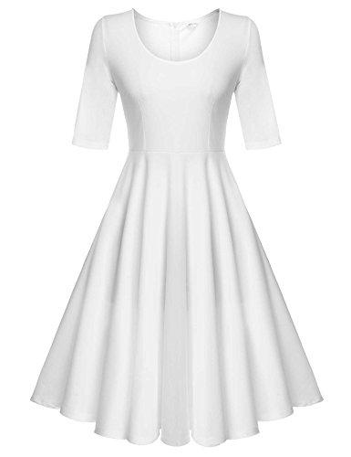 ELESOL Women's A-Line Dress Floral Print Knee Long Tea Dress,White/XL