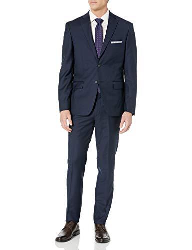 DKNY Men's All Wool Slim Fit Suit, Navy Twill, 40 Regular
