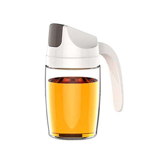 Pilika Botella de Aceite Botella de Vinagre Tapa Protectora de Volteo Automático 10.5 OZ (300ml) Blanco