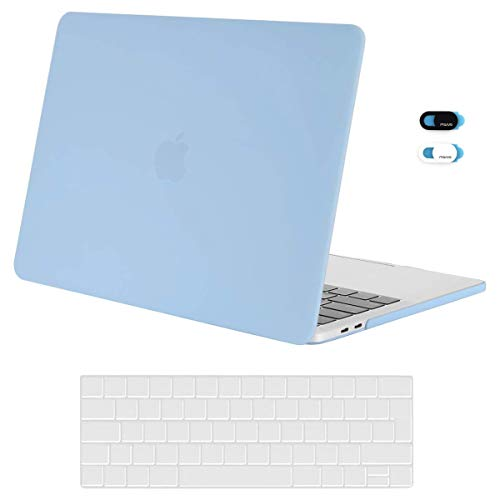 MOSISO Plastic Hard Shell Case&Keyboard Cover&Webcam Cover Compatibel met MacBook Pro 13 inch met/zonder Touch Bar Airy Blue