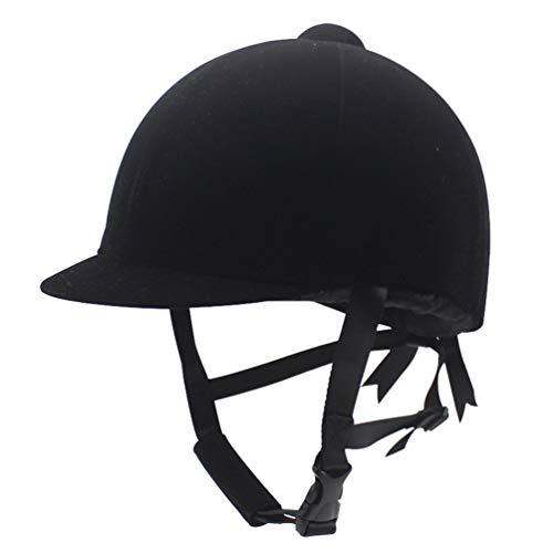 QitunC Casco Ecuestre para Equitación Deportivo, Casco de Montar a Caballo Sombrero de Seguridad Resistente para Mujeres y Hombres (Black, 54-56cm)