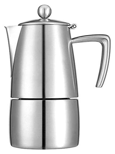 NC Cafetera Espresso Moka Olla Hecha de Acero Inoxidable para café con Tapa de Estufa de Cuerpo Completo para 6 Tazas de Espresso (Color: Plateado, tamaño: 4 Tazas) Chen