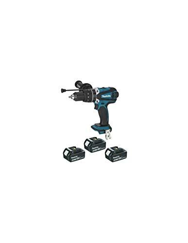 Makita DHP458RT3J - Taladro atornillador de percusión (incluye 3 pilas de 18 V, 5 Ah, Li-Ion, incluye estuche Makpac)