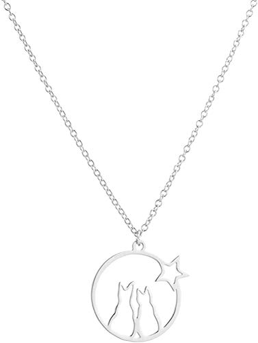 ZHIFUBA Co.,Ltd Necklace Fashion Cute Animal Cat Necklace 316L Stainless Steel Charm Pet Cat Jewelry Necklaces Girl Gifts Women Party Accessories
