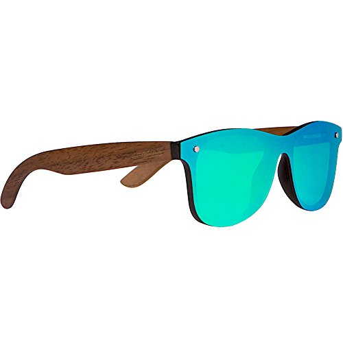Woodies Walnut Wood Sunglasses with Flat Mirror Polarized Lens (Green)