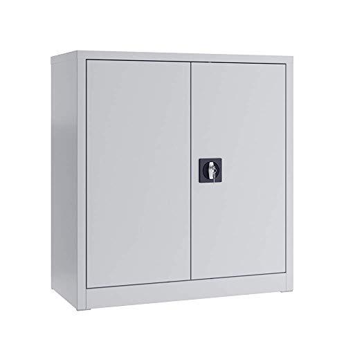 Vicco Aktenschrank Büroschrank Werkzeugschrank Metallschrank (Grau, 90x85x39cm)
