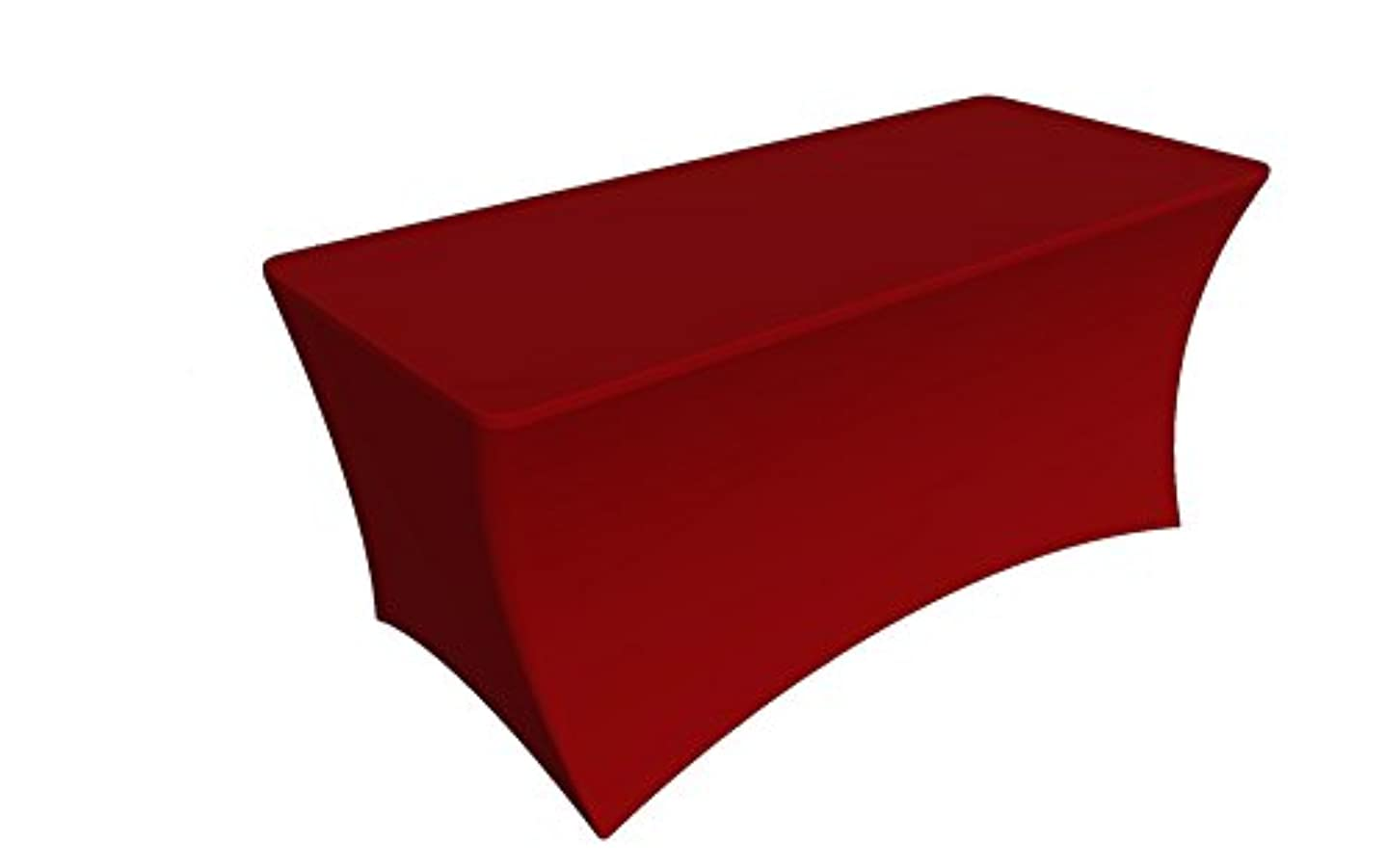 SY66 Tablecloth Cover, 6 ft white,Table Cloth Skirts, Rectangular, Polyester/Spandex, Elastic, Stretchable Linen, Stain & Wrinkle Proof, for Folding Tables, Wedding, DJ, Events (Red)