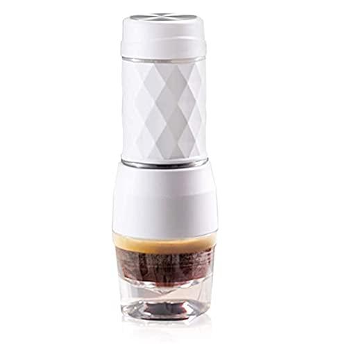 BRSFD Przenośny ekspres do kawy, zewnętrzny mini ekspres do kawy podróżny, ekspres do kawy na kapsułki, proszek do kawy i kapsułki zgodne z ciśnieniem 20 bar,White