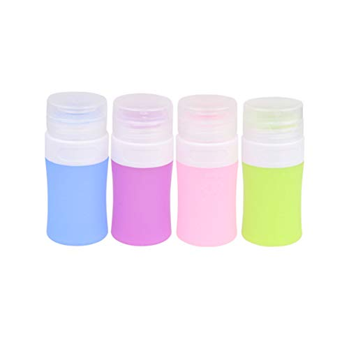 Healifty 4pcs silicone voyage bouteilles de maquillage sous bouteille rechargeable cosmétiques distributeur de produits de toilette pour les femmes dames filles