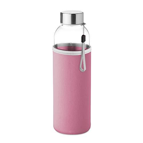 PromotionGift - Botella de cristal con bolsa de neopreno en 500 ml - Rosa
