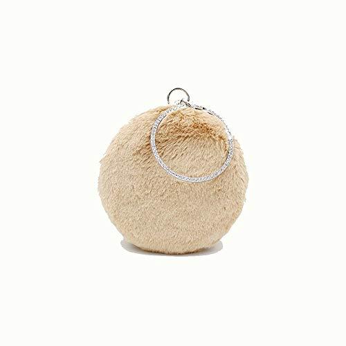 T-ara Das neue Neue tragbare Troll-Pelz-Tasche der Frauen niedlichen Ketten-Plüsch-Eve-Tasche Unverzichtbar zum Wandern (Color : Khaki, Size : 16.5 * 6 * 16)