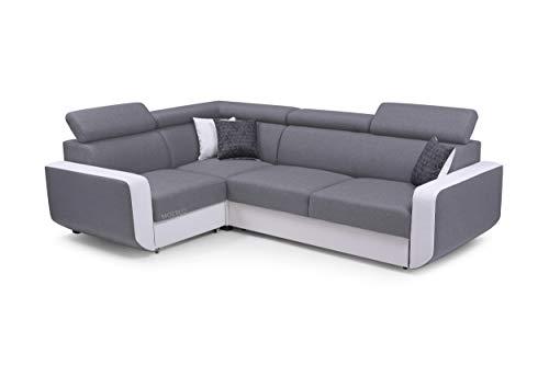 MOEBLO Ecksofa mit Schlaffunktion Eckcouch mit Bettkasten Sofa Couch L-Form Polsterecke Celine (Hellgrau, Ecksofa Links)