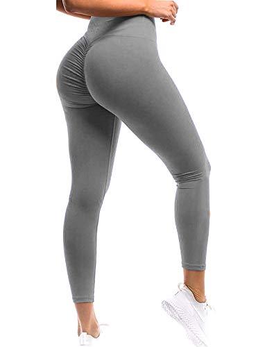 SEASUM Women Scrunch Butt Leggings High Waisted Ruched Yoga Pants Workout Butt Lifting XL