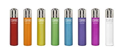 HIBRON Pack de Clipper 8 Mecheros Encendedores Liso Cristal Rainbow Surtidos Bonitos 1-10003-00 Cristal Rainbow 5 + 1 Llavero Camaleon de Regalo