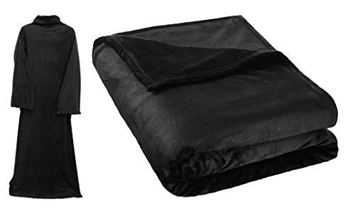 Deluxe Elegante Tagesdecke mit Ärmeln (140 x 180) Soigné Black - optimale Wärmeisolierung - Fleece Ärmeldecke Kuscheldecke Wärmedecke Ärmel Decke Plaid - Schwarz