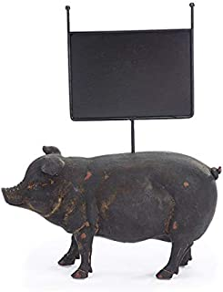 Distressed Black Resin Pig with Message Board, 14 Inches