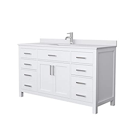 Beckett 60 Inch Single Bathroom Vanity in White, White Cultured Marble Countertop, Undermount Square Sink, No Mirror