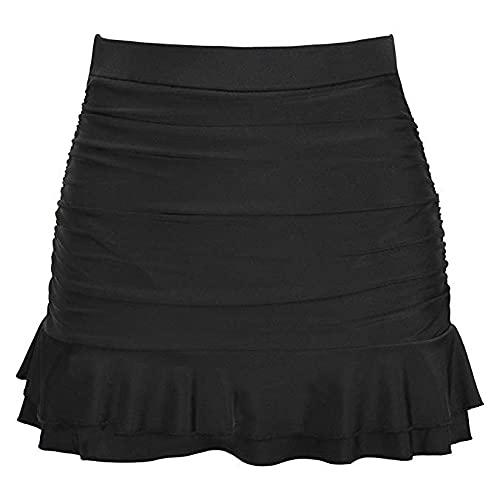 N\P Falda de mujer simple sexy falda de color sólido bikini inferior cintura alta plisada volantes traje de baño faldas