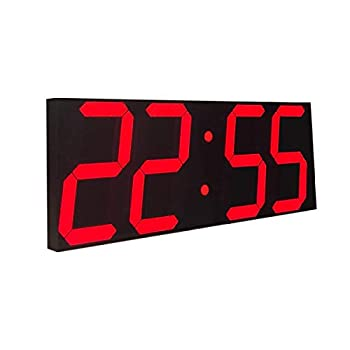 Goetland 17-3/5 inches Jumbo Wall Clock LED Digital Multi Functional Remote Control Countdown Timer Temperaturer Red Digital on Black Background