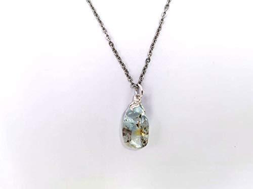 Collar con colgante mineral, cadena con piedras semipreciosas, joyería artesanal (topacio azul)