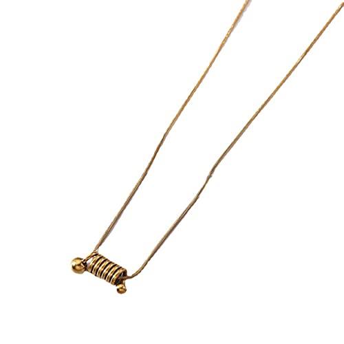 Yixikejiyouxian Collar de Acero de Titanio en Espiral de Primavera Versión Coreana Femenina de Colgante de Oro de 18 Quilates Cadena de clavícula de Temperamento Simple - Oro