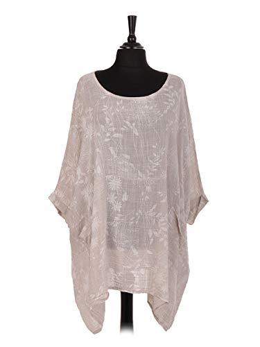 Storm Island Italienisches Damen-Tunika, Lagenlook, Baumwolle, Blumendruck, Boho-Stil, mit Taschen Gr. 48-50, beige