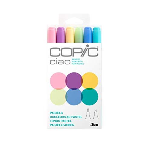 COPIC Ciao Marker Set Pastels mit 6 Farben, alkoholbasierte Allround Layoutmarker, im praktischen Acryl-Display zur Aufbewahrung und einfachen Entnahme, bunt
