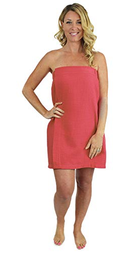 Indulge Linen Spa Waffle Body Wrap for Women with Adjustable Closure, (Coral, Large/One Size)