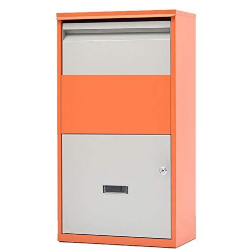 HWF Briefkasten Groß Freistehend Briefkasten Paket Drop Box Draussen - Paket-Dropbox mit Zahlenschloss für Veranda Curbside, Steh- / Wandhalterung (Color : Orange)