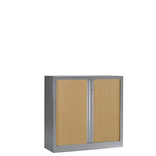 Armoire Monobloc à rideaux | Aluminium | Chêne Clair | HxLxP 1000 x 1000 x 430 | Certeo